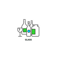 waste glass recycle concept icon in line design vector image vector image