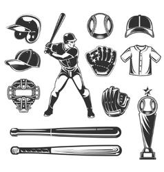 Set of baseball icons vector image