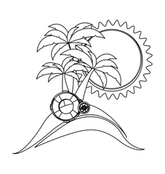 Monochrome contour with beach and float ring vector