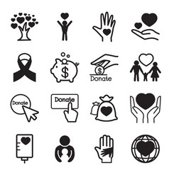 Donation giving icons set vector