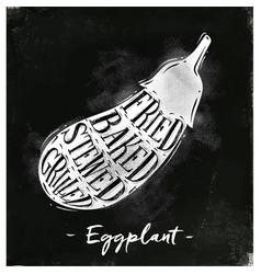 Eggplant cutting scheme chalk vector