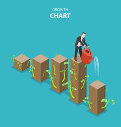 Growth chart flat isometric vector
