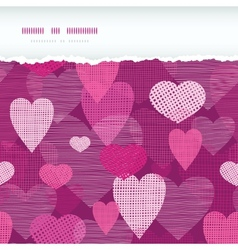 Fabric hearts romantic torn horizontal seamless vector