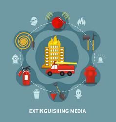 firefighting extinguishing media vector image