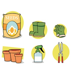 Gardening tools cartoon vector
