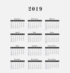 2019 year calendar vertical design vector image vector image