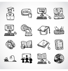 Online education icon sketch vector