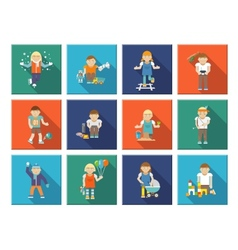 Kids playing icons vector