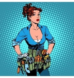 Woman working repairman electrician vector