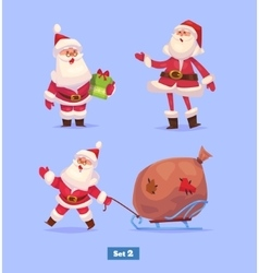 Funny santa set  christmas greeting card vector