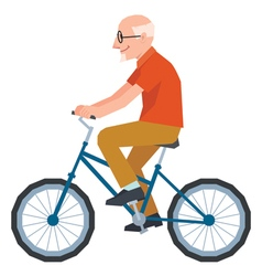 Senior man in style of low poly rides a bike vector