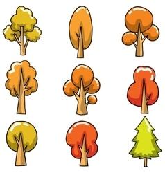 Autumn tree set on doodles vector
