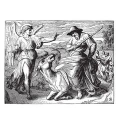 Balaam met by the angel of the lord vintage vector