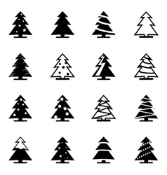 black christmas tree icon set vector image vector image