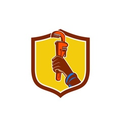 Black plumber hand raising monkey wrench crest vector