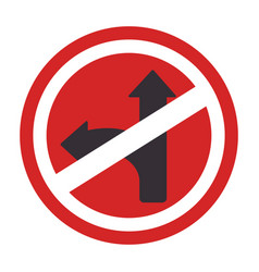 Circular contour road sign prohibited turn right vector