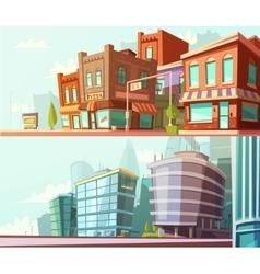 City Skyline 2 Horizontal Banners Set vector image