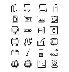 Computer hardware line icons 3 vector
