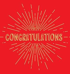 congratulations greetings sunrays retro theme vector image