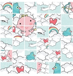 Cute cupid puzzle pattern vector image