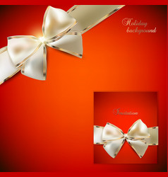 Elegant red background and gift card with ribbons vector