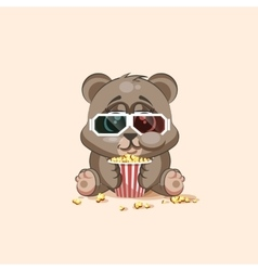 Emoji character cartoon bear chewing popcorn vector