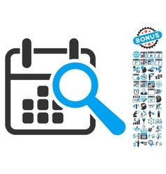 Find Date Flat Icon With Bonus vector image