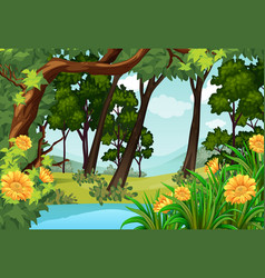 Forest scene with trees and pond vector