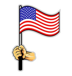 Hand Holding US Flag vector image vector image