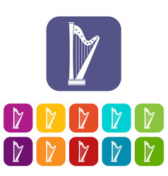 Harp icons set flat vector
