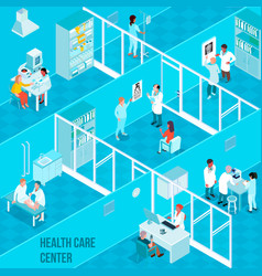 Health care center isometric vector