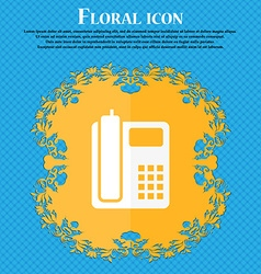 Home phone icon floral flat design on a blue vector
