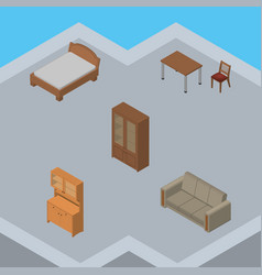 Isometric furniture set of cabinet couch vector