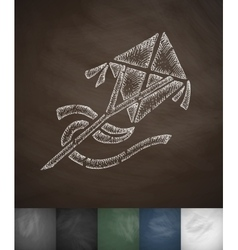 kite icon Hand drawn vector image