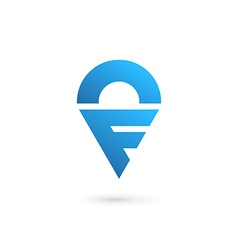 Letter F geotag logo icon design template elements vector image