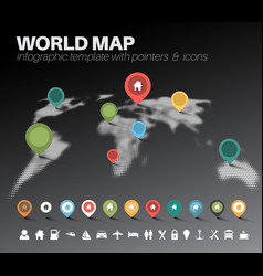 light world map with pointers vector image vector image