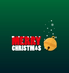 Merry Christmas text and small bell flat design vector image vector image