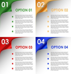 Options of colorful bent corners background vector image vector image