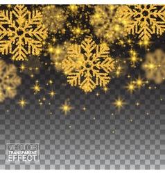 Random falling gold snowflakes shining glitter vector