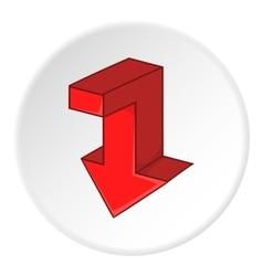 Red broken arrow down icon cartoon style vector