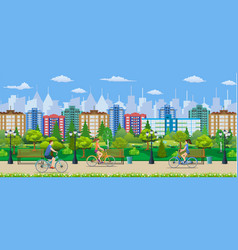 Riding bicycles in public park vector