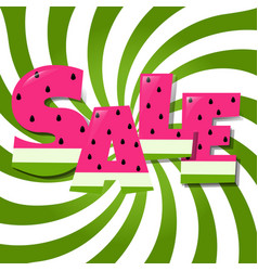 Sale poster with watermelon text vector