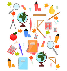 school supplies pattern background back to vector image