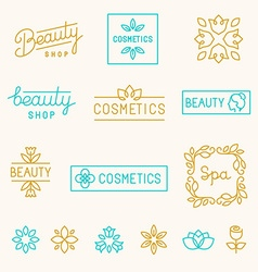 set of linear design elements and logos vector image vector image