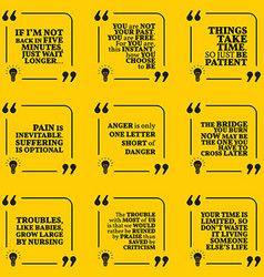 Set of motivational quotes about past waiting pain vector