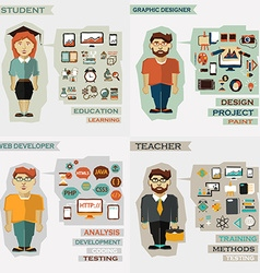 Set of professions Student graphic designer web vector image vector image
