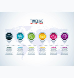 timeline infographic business world map pointers vector image