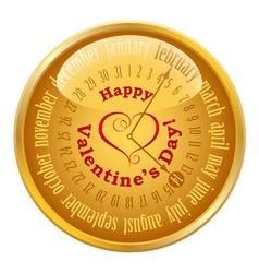 Valentines day on calendar vector