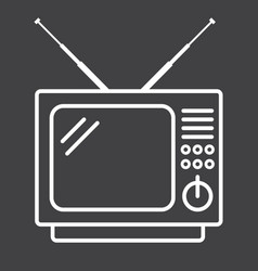 Vintage tv line icon household and appliance vector