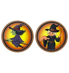 Witches on round badges vector image vector image